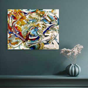 Original Abstract Painting Title Tourist Map
